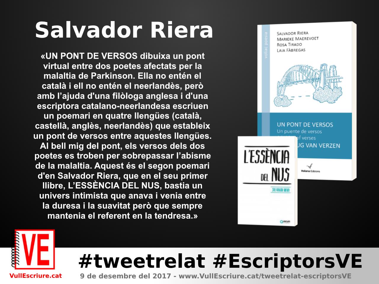 VullEscriure - Marató escriptura #tweetrelat #EscriptorsVE - Salvador Riera - Un pont de versos