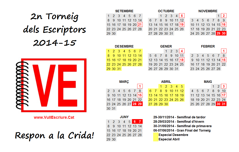 Tornei Escriptors VullEscriure - Calendari 2013-2014